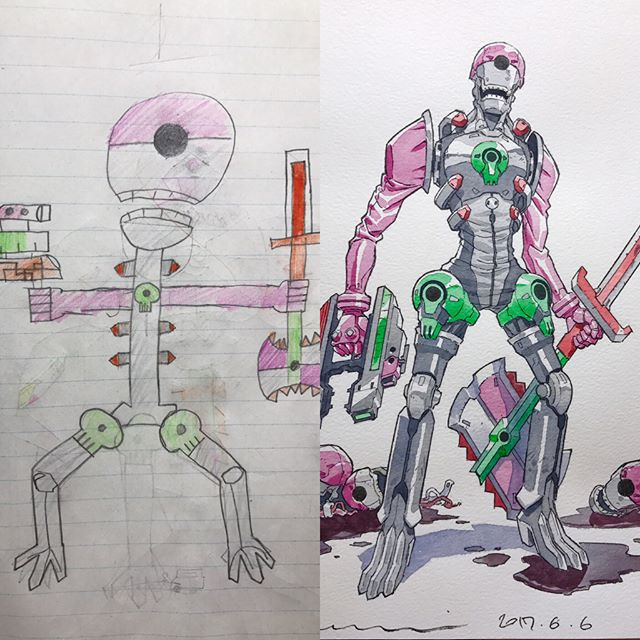 Dad Transforms His Sons' Drawings Into Stunning Anime Characters